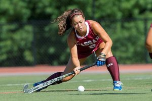 Field hockey is one of a number of teams for Vassar who are in the midst of the playoff hunt. Sophomore Lauren Shumate has been a key contributor for the Brewers with her strong defense. Photo By: Vassar Athletics