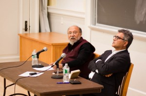 Along with Professor Amitava Kumar of the English Department, sociologist Ashis Nandy sits in Rockefeller Hall where he gave a lecture on his theories about mass violence and human potentiality. Photo By: Sam Pianello