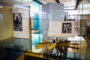 """The exhibition """"Tongues in Trees: Xylography and the Uses of Adversity"""" is curated by Art Librarian Thomas Hill. The exhibit is part of a larger series emphasizing woodblock printing. Photo By: Alec Ferretti"""