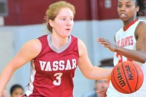 Junior guard Caitlin Drakeley uses her superior ball handling skills to quickly get past a defender in a recent game for the Brewers. VCWB hopes to match last season's success as the season draws closer. Photo By: Vassar Athletics