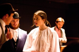 Lead actress Rachel Messbauer '16 plays Dr. Stockmann, a role originally designed for a man, Merely Players' fall show. The director and cast will present an exciting twist on Henrik Ibsen's classical play. Photo By: Sam Pianello