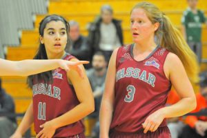 Junior guard Caitlin Drakeley and freshman guard Samarah Cook have been part of a formidable backcourt, that along with a strong defense, has helped the Brewers start the season 4-0. Photo by: Vassar Athletics.