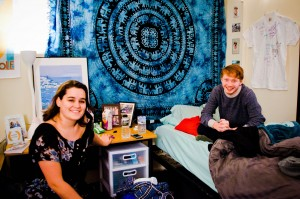 James Haxton '16 and Alex Moulton '16 are two of the many returning juniors who were affected by the Junior Housing Crisis. They currently reside in the former ROC offices in the back of Joss. Photo By: Emily Lavieri-Scull