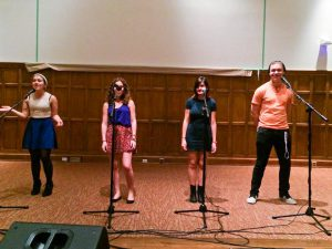 FWA members sing in a quartet for a performance in Villard during last semester's musical season. The organization gets ready to host Cabaret which will focus on fundraising and gaining enthusiasm. Photo By: Imani Russell