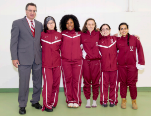 Lewis, Kathleen Konno and Anveshi Guha. The group performed well at the VC Fencing Challenge. courtesy of Vassar Athletics Vassar honors its departing seniors, from left to right, Anastasia Stevens, Janelle Washington, Megan