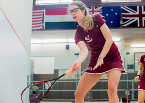 Freshman Hannah Nice winds up for an impressive hit. Nice, an experienced squash player and former Squash Scholar-Athlete, has been an integral part of the women's success this season. Photo by: Vassar Athletics