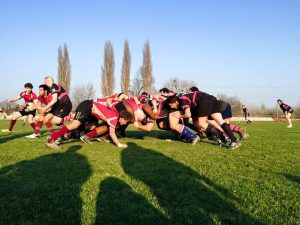 The men's rugby team wins a scrum in their game against the Budapest Exiles on their spring break tour. The men and women's teams added Hungary to the list of countries the teams have visited. Photo By:  Vassar Athletics