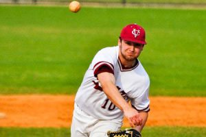 Sophomore pitcher Robert Winkelmann throws some heat. Winkelmann is part of the Brewers' thinly manned pitching staff, and will have to work twice as hard in the four game weekends this season. Photo By: Vassar Athletics