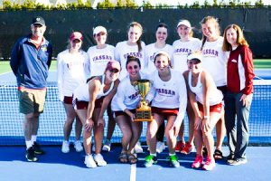 The women's tennis team defeated Bryn Mawr College and No. 30 Wellesley College this past weekend on their way to their 12th Seven Sister Championship. The women only lost one match on the day. Photo By: Vassar Athletics