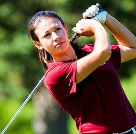Junior Aimee Dubois hits a masterful stroke at the Jack Leaman Women's Championship at the Hickory Ridge Golf Club. The women finished in seventh place out of ten teams on Saturday, April 18. Photo By: Vassar Athletics