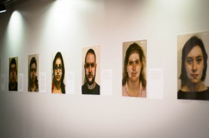In its second year, the Privilege Campaign featured portraits of students and faculty with text over their faces naming their privileges. They are currently displayed on the second floor of the College Center. Photo By: Sam Pianello