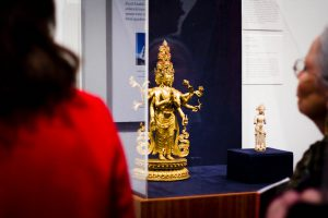 """Professor of Art, Karen Lucic culminates five years of research in the new Loeb exhibit. """"Embodying Compassion in Buddhist Art: Image, Pilgrimage, Practice"""" Photo By: Sam Pianello"""