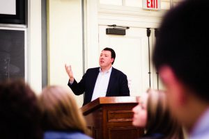 Vassar alumnus Marc Thiessen '89, a renowned conservative speech-writer and political commentator, provoked heated discussion among various groups on campus surrounding his views on terrorism. Photo By: Sam Pianello