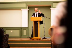 Writer George Saunders delivered this year's Alex Krieger '95 Memorial Lecture, a series dedicated to bringing humor writers to campus. Saunders talked about the journey to finding his voice as a humorist. Photo By: Sam Pianello