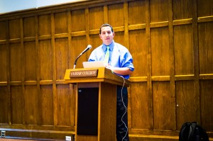 Alexander Heffner, civic educator and host of 'Open Mind,' addresses a mixed audience in the Villard Room on Monday about the intersection of the millennial generation, media presence, and politics. Photo By: Joshua Sherman