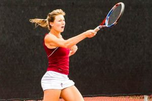 Sophomore Emily Hallewell seals the deal in her No.5 single match up with St. Lawrence's Emily Wyman, winning in straight sets, 6-4, 6-4. The Brewers beat St. Lawrence in the Liberty League semis. Photo By: Vassar Athletics