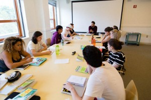 Students work together in a seminar to workshop, plan and organize their scripts for their rapidly approaching deadline. For many seniors, the weeks after break mark the final draft deadline. Courtesy of Joseph Muszynski