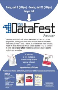 For the second time ever, from Friday, April 8 to Sunday, April 10, DataFest 2016 will be going on in Kenyon. Around 50 students will compete to discover insights into a large unfamiliar dataset. Photo courtesy of Vassar College