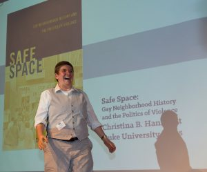 Author and Professor of LGBT Studies Christina Hanhardt spoke about her book, focused on marginalization within LGBT communities after gentrification of gay urban neighborhoods. Photo courtesy of University of Maryland