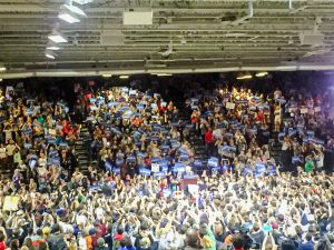 On Tuesday, April 12, Marist and Vassar students, along with the larger Poughkeepsie community gathered to hear Democratic presidential candidate Bernie Sanders speak about his campaign. Photo courtesy of Sophia Burns