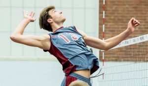 Sophomore Matthew Knigge rises up for a kill. His stellar season resulted in selection as a FirstTeam All-American. Knigge is the sixth player in the program's history to receive the award. Photo courtesy of Vassar Athletics