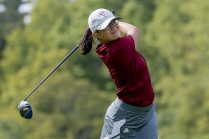 Sophomore Evon Shay drives the ball during her 18-hole competition against Union College on Sunday, Sept. 11. The Brewers swept the Dutchwomen, with Shay placing fifth among her teammates. Courtesy of Carlisle Stockton