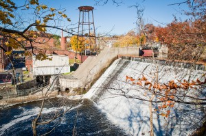 The restored Groveville hydropower plant in Beacon, combined with a solar power initiative, will replace 20 percent of Vassar's fossil fuel consumption with renewable alternatives. Courtesy of Vassar College/Karl Rab