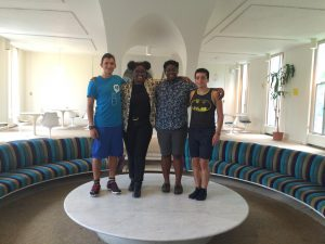 """Noyes House Programming Director, Student Fellows and President pose in Jetson Lounge, the location of the powerful and pertinent event """"We Got You: a Melanin-Blessed Gathering."""" Photo by Kayla Gonzalez/The Miscellany News"""