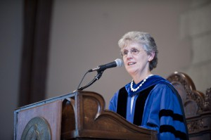 In her address at the 151st Fall Convocation, President Emerita Catharine Hill emphasized the tantamount importance of access to higher education. Photo courtesy of Vassar College/Karl Rab