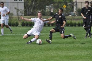 Junior Hayden VanBrewer challenges a William Patterson player during the Vassar College Classic on Sept. 10. Vassar ended the weekend 2-0, placing them on a five-game win streak. Courtesy of Gelsey White