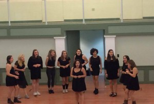 The Night Owls, Vassar's historically all-woman a cappella group, was one of many campus ensembles that performed in UpC for the annual preview concert for the first-years. Photo courtesy of Chiara Mannarino