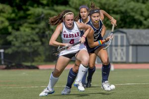 Sophomore Monica Feeley exhibits her strong defensive skills against Smith College in the finals of the 28th Annual Betty Richey Tournament, which Vasssar won for the third straight time on Sept. 3. Courtesy of Carlisle Stockton