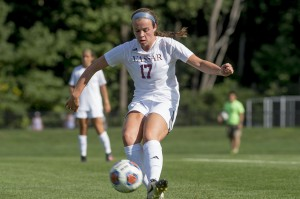 Junior defender Emma Lavelle makes a play in the women's soccer 2-2 stalemate against Oneonta on Saturday, Sept. 17. The Brewers are currently 1-4-1 on the season. Courtesy of Carlisle Stockton