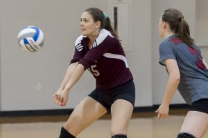 Freshman Jane McLeod bumps a pass in a match against Union College. The Brewers beat Union as well as RIT, Skidmore and Bard over the weekend in Liberty League play. Courtesy of Carlisle Stockton