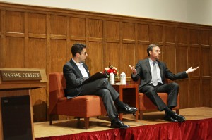 On Sept. 20, speakers Steven Cook and Bret Stephens engaged Vassar students and faculty alike on a familiar topic with a seldom-heard approach: why to be pro-Israel in the Israel-Palestine conflict. Photo by Laurel Hennen Vigil/The Miscellany News