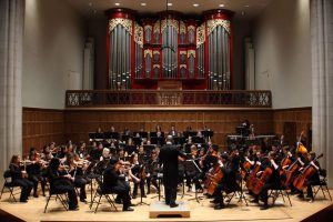 The Vassar College Orchestra, under the direction of Eduardo Navega, will present their first concert of the year on Saturday, Oct. 8 in Skinner's Mary Ana Fox Martel Recital Hall. Courtesy of Vassar College