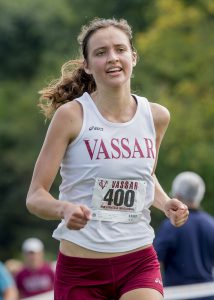 Senior Lucy Balcezak races to the finish line of the Seven Sisters Championships to be named fifth place. The team will next race at the Liberty League Championships on Friday, Oct. 29. Photo courtesy of Carlisle Stockton