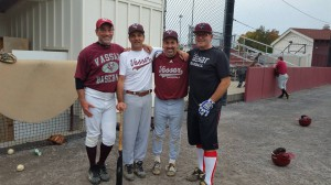 Alex Cooper, Class of 1983, is pictured with three of his Vassar baseball teammates. Cooper and his fellow alums were a part of the original Vassar College baseball team. Photo courtesy of Alex Cooper