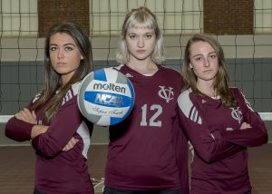 (From left to right) Seniors Sarah Roberts, Gabby Miller and Sierra Tobin are guiding the women's volleyball team to a historic season. The squad is 7-1 in league play. Photo courtesy of Carlisle Stockton