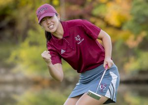 Freshman Andrea Han celebrates after successfully making a putt during competition. She and her fellow Brewers finished eighth in the George Phiney Golf Classic over the weekend. Photo courtesy of Carlisle Stockton