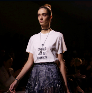 Many standouts at Paris Fashion Week were women fashion designers, including the new creative director of Dior, Maria Grazia Chiuri, who presented a distinctly pro-feminist stance. Photo courtesy of susiebubble on Twitter