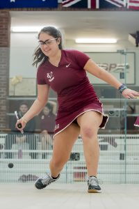 Senior captain Carly Scher plays in a squash game during last year's season. Head squash coach Jane Parker is leaving after 16 years to work for SquashSports in Philadelphia. Courtesy of Carlisle Stockton