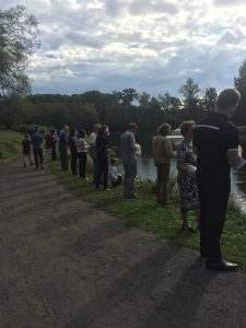 Vassar students and local members of the Vassar Temple synagouge in Poughkeepsie gathered along Sunset Lake to celebrate the Jewish holiday of Rosh Hashana on Oct. 3.