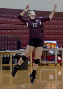 Senior Gabby Miller serves in recent home match. After the team's upset in the Liberty League finals, Vassar will have to say goodbye to crucial seniors, Sierra Tobin, Sarah Roberts and Miller. Photo courtesy of Carlisle Stockton