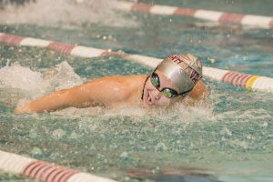 Senior captain and All-American Julia Cunningham completed the 100 free with a time of 59.33 in opening meet against Bard College. The team will next compete on Nov.5 against Skidmore College. Photo courtesy of Carlisle Stockton