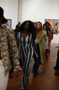 In Contrast's annual fashion show, student models walked the runway, displaying couture inspired by the revolutionary spirit of the year 1969. Photo courtesy of Vassar Contrast