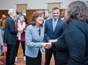 New York State Lieutenant Governor Kathleen Hochul spoke at Vassar, urging students and administrators alike to be vigilant in eliminating sexual assault and violence on college campuses. Photo courtesy of Vassar College/Karl Rabe