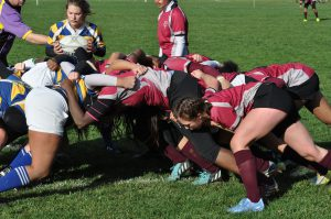 Vassar women's rugby battles SUNY-Geneseo in the first round of ACRA championships. As Vassar bested the Knights 72-12, the Brewers earned their spot in the Sweet 16 on Nov. 19. Photo courtesy of Carlisle Stockton