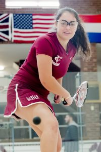 Senior captain Carly Scher goes for ball in home match against Fordham University on Nov. 5. After defeating the Rams 9-0, the women will next play Connecticut College and Haverford on Nov. 19. Photo courtesy of Carlisle Stockton
