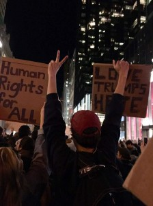 Vassar protestors attended a rally in New York City on Wednesday night to peacefully contest the tumultuous political climate uniting against hate and intolerance. Photo courtesy of Sam O'Keefe